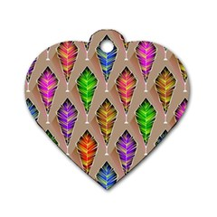 Abstract Background Colorful Leaves Dog Tag Heart (two Sides)