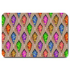 Abstract Background Colorful Leaves Large Doormat