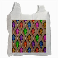 Abstract Background Colorful Leaves Recycle Bag (one Side)