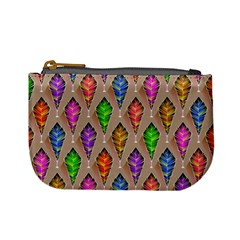 Abstract Background Colorful Leaves Mini Coin Purses