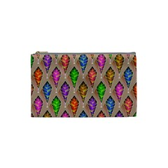 Abstract Background Colorful Leaves Cosmetic Bag (small)