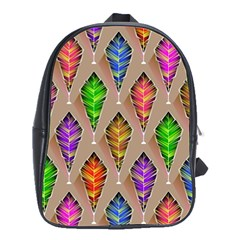 Abstract Background Colorful Leaves School Bag (large)