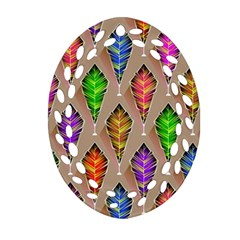 Abstract Background Colorful Leaves Oval Filigree Ornament (two Sides)