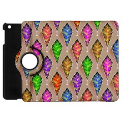 Abstract Background Colorful Leaves Apple Ipad Mini Flip 360 Case
