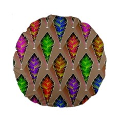 Abstract Background Colorful Leaves Standard 15  Premium Round Cushions
