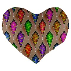 Abstract Background Colorful Leaves Large 19  Premium Heart Shape Cushions