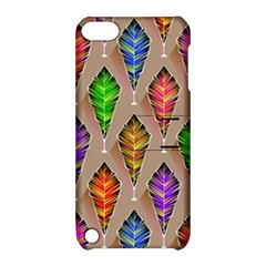 Abstract Background Colorful Leaves Apple Ipod Touch 5 Hardshell Case With Stand