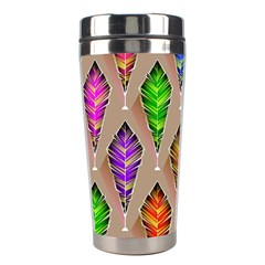 Abstract Background Colorful Leaves Stainless Steel Travel Tumblers