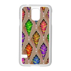 Abstract Background Colorful Leaves Samsung Galaxy S5 Case (white)