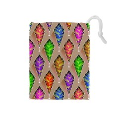 Abstract Background Colorful Leaves Drawstring Pouches (medium)