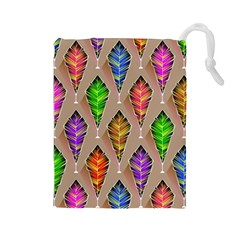 Abstract Background Colorful Leaves Drawstring Pouches (large)