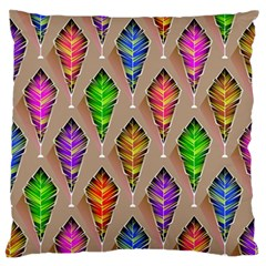 Abstract Background Colorful Leaves Large Flano Cushion Case (two Sides)