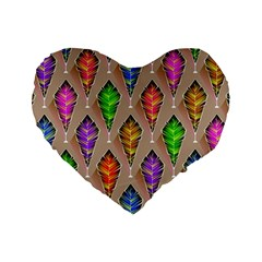 Abstract Background Colorful Leaves Standard 16  Premium Flano Heart Shape Cushions