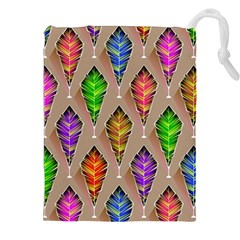 Abstract Background Colorful Leaves Drawstring Pouches (xxl)