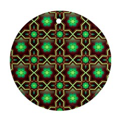 Pattern Background Bright Brown Round Ornament (two Sides)