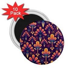 Abstract Background Floral Pattern 2 25  Magnets (10 Pack)