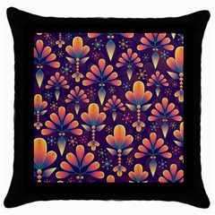 Abstract Background Floral Pattern Throw Pillow Case (black)