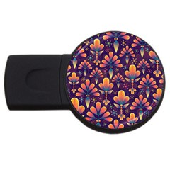 Abstract Background Floral Pattern Usb Flash Drive Round (4 Gb)