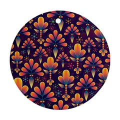 Abstract Background Floral Pattern Round Ornament (two Sides)