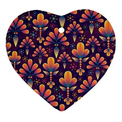 Abstract Background Floral Pattern Heart Ornament (two Sides)