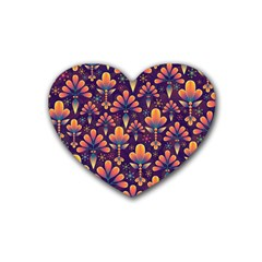 Abstract Background Floral Pattern Rubber Coaster (heart)