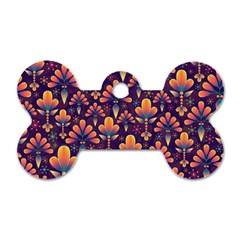 Abstract Background Floral Pattern Dog Tag Bone (one Side)