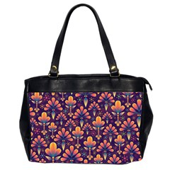 Abstract Background Floral Pattern Office Handbags (2 Sides)