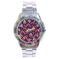Abstract Background Floral Pattern Stainless Steel Analogue Watch