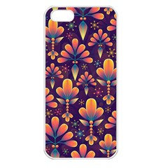 Abstract Background Floral Pattern Apple Iphone 5 Seamless Case (white)