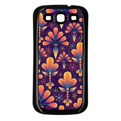 Abstract Background Floral Pattern Samsung Galaxy S3 Back Case (black)