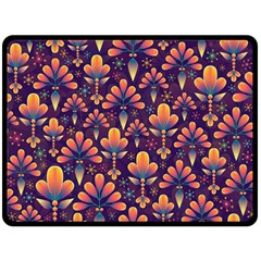Abstract Background Floral Pattern Double Sided Fleece Blanket (large)