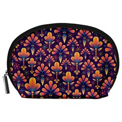 Abstract Background Floral Pattern Accessory Pouches (large)