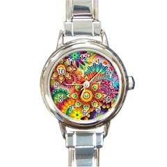 Colorful Abstract Background Colorful Round Italian Charm Watch