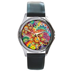 Colorful Abstract Background Colorful Round Metal Watch