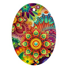 Colorful Abstract Background Colorful Ornament (oval)