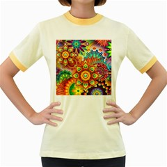 Colorful Abstract Background Colorful Women s Fitted Ringer T Shirts