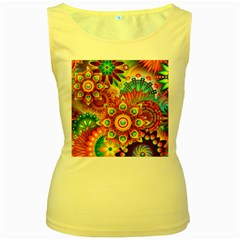 Colorful Abstract Background Colorful Women s Yellow Tank Top