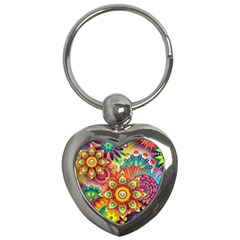 Colorful Abstract Background Colorful Key Chains (heart)