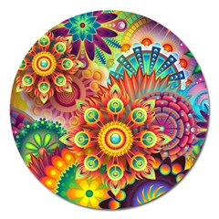 Colorful Abstract Background Colorful Magnet 5  (round)