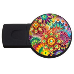 Colorful Abstract Background Colorful Usb Flash Drive Round (4 Gb)