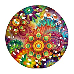 Colorful Abstract Background Colorful Round Filigree Ornament (two Sides)