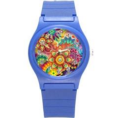 Colorful Abstract Background Colorful Round Plastic Sport Watch (s)