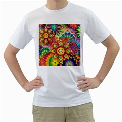 Colorful Abstract Background Colorful Men s T Shirt (white)