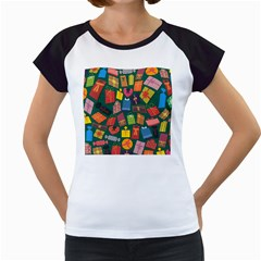 Presents Gifts Background Colorful Women s Cap Sleeve T