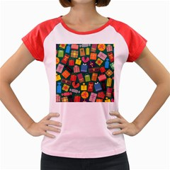 Presents Gifts Background Colorful Women s Cap Sleeve T Shirt