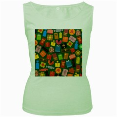 Presents Gifts Background Colorful Women s Green Tank Top