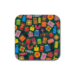 Presents Gifts Background Colorful Rubber Square Coaster (4 Pack)