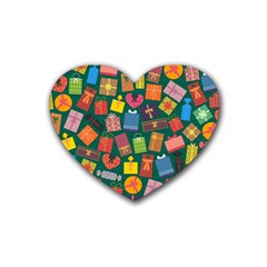 Presents Gifts Background Colorful Rubber Coaster (heart)