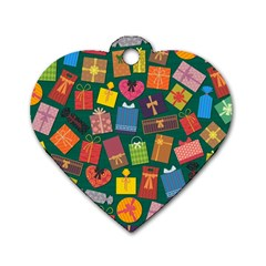 Presents Gifts Background Colorful Dog Tag Heart (two Sides)