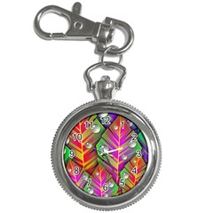 Abstract Background Colorful Leaves Key Chain Watches